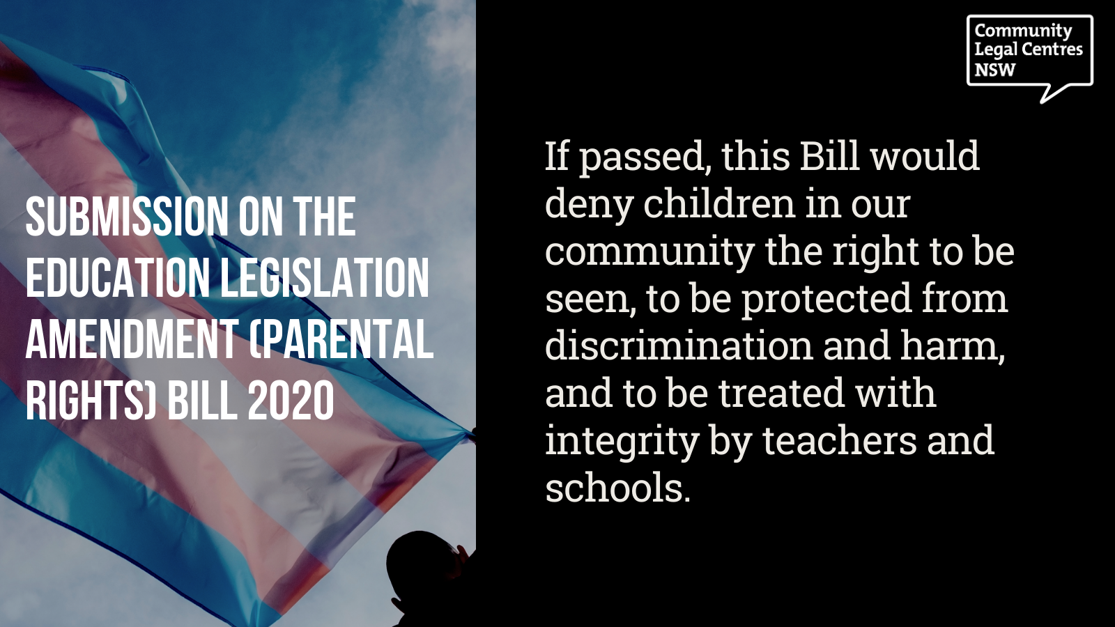 """If passed, this Bill would deny children in our community the right to be seen, to be protected from discrimination and harm, and to be treated with integrity by teachers and schools."""