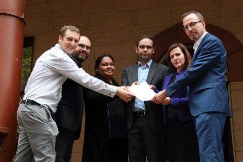 Handing over the open letter at NSW Parliament House